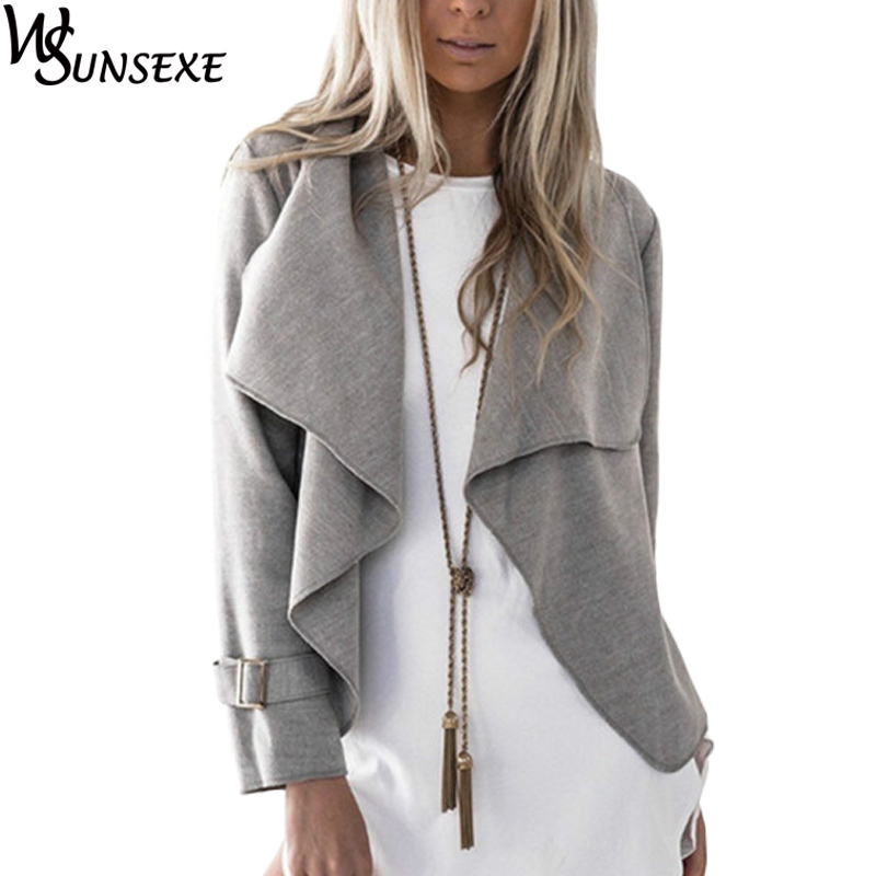 Fashion Crop Coat Jacket Outwear Grey Camel Solid Color Women Long Sleeve Turn-down Collar Loose Coat 2017 Autumn Winter Jackets(China)