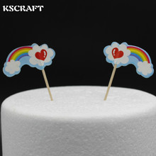 KSCRAFT Rainbow Party cupcake toppers picks decoration for Kids party Cake favors Decoration supplies