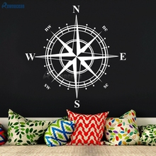 New Year 2017 Nautical Home Decor Compass Art Wall Stickers For Children's Rooms Vinyl Waterproof sticker muraux Bedroom C-01(China)