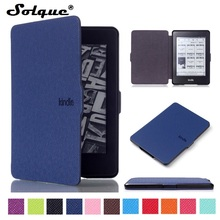 Solque Ultra Slim PU En Cuir eReader Cas Pour Amazon Kindle Paperwhite papier Blanc 1 2 3 2015 Coque Flip Couverture eBook cas(China)