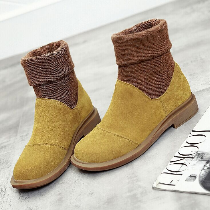 SWYIVY Knitting Sock Boots Woman Yellow Snow Boots Shoes 2018 Autumn New Female Fashion Shoes Genuine Leather Flats Snow Shoes