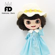 free shipping for blyth doll icy licca body 1/6 blue dress flower sun hat bag gift toy(China)