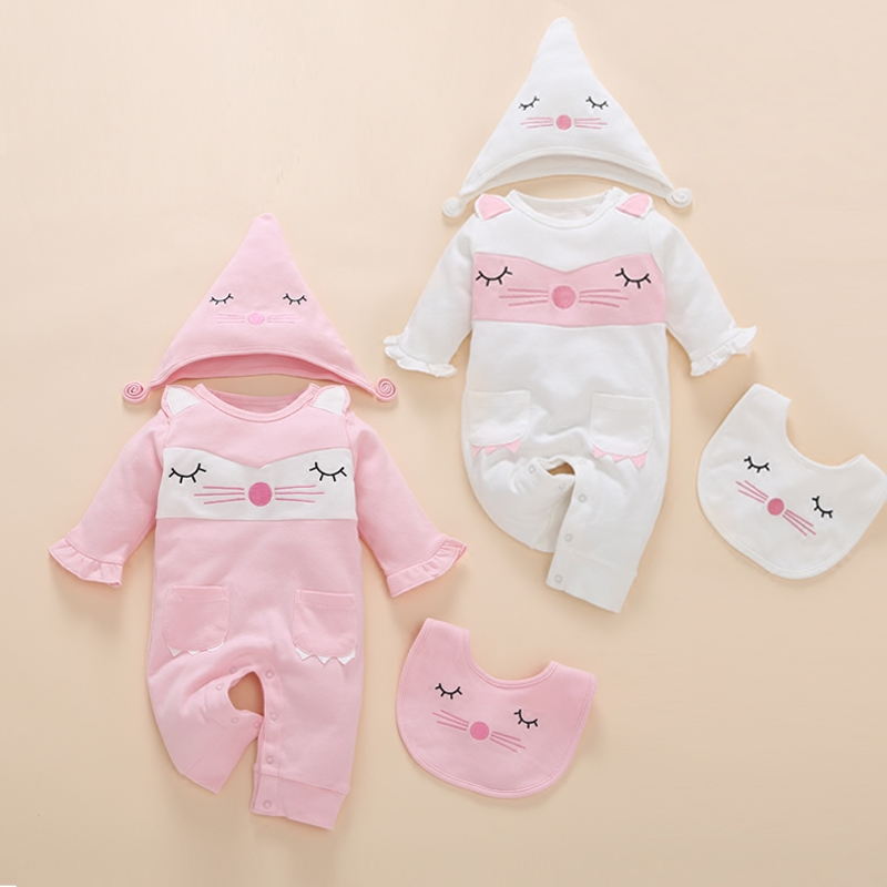 2017 fashion 3pcs newborn baby clothes embroidered cartoon europe twins autumn kids infant baby girl romper names online 0 set<br>