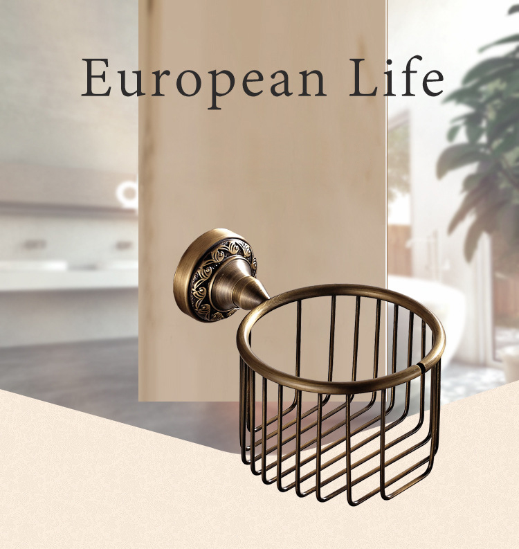 Wholesale Toilet paper Holder Antique Brushed Copper Paper Net Basket Paper holder Box 7806<br>