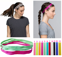 Double Elastic Headband Softball Anti-slip Silicone Rubber Hair Bands Bandage On Head For Hair Scrunchy(China)