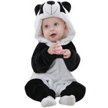 2017 Toddler Newborn Baby Boys baby clothes Girls Panda Cartoon Hooded Rompers Outfits Clothes best gift