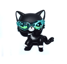 Pet Shop Animal Green Eyes Black Cat With Sunglass Figure Child Toy XMAS GIFT FREE SHIPPING(China)