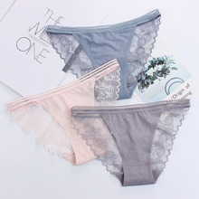 Buy Simple Style Ice Silk Seamless Women Panties Sexy Lace Hollow Lady Underwear Transparent Temptation Low Waist Calcinha Lingerie