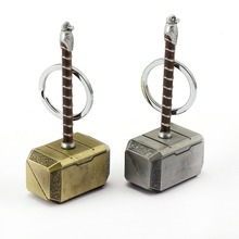 JM Fashion Movie jewelry The Avengers Loki Thor Hammer Keychain Car Souvenir Jewelry Metal Key Chain Ring Holder Chaveiro