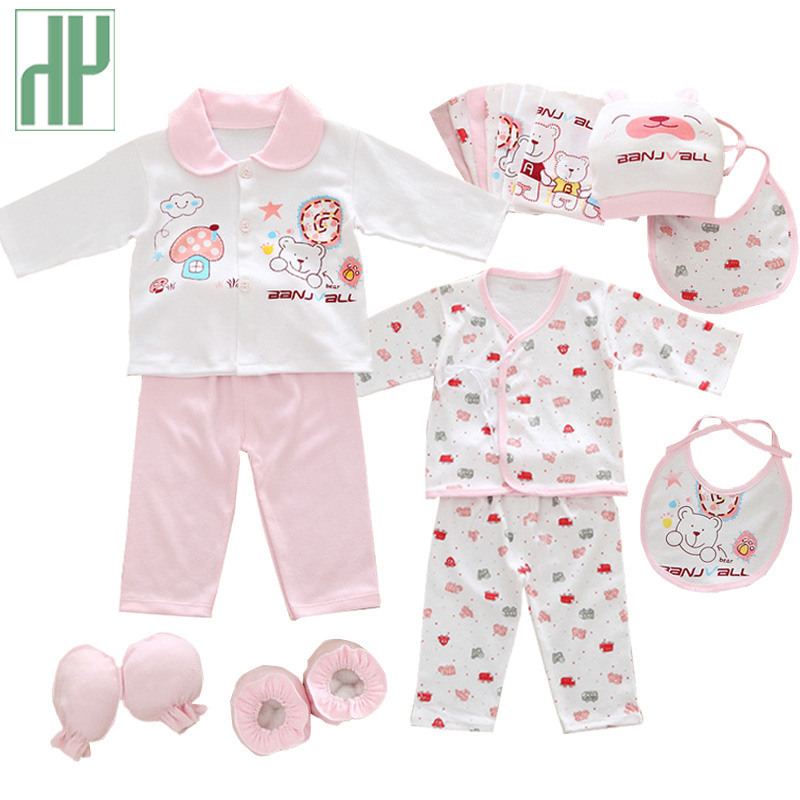 18pcs/set newborn girl clothes 0-3 months long sleeve cotton new born baby boy clothing gift sets suit summer infant clothing(China)