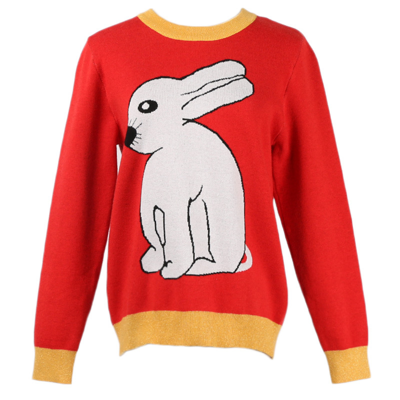 GRUIICEEN autumn new rabbit animal sweater women pullovers korean round neck knitting sweater jumper GY2018589