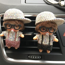 Lady car styling accessories Cute little doll Air refreshing agent for air conditioner Diamond sun hat Kiki Auto perfume clip(China)