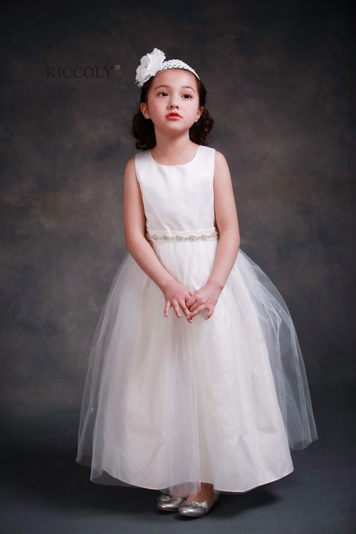 Princess Ball Gown White Lace Flower Girls Dresses For Weddings Cheap 2016 Tulle Bow Knot Custom First Communion Dress Gown<br>