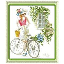 Велосипедный Спорт Девушка Вышивка Крестом Картины Счетный крест 11ct 14ct вышивки крестом Наборы для ухода за кожей оптовая продажа китайский...(China)