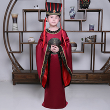Child Costume Chinese Hanfu Dress Boys Emperor King Stage Clothes Costumes Tang Suit Kids Robe+hat Set Christmas Gift