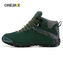 Onemix women hiking shoes winter boots lady anti slip outdoor snow sport sneaker wool warm woman trekking autumn green gray