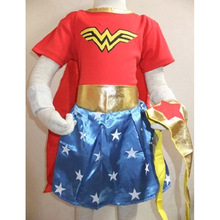 Girls Wonder Woman Costume Dress Halloween Costume For Kids Role-Playing Superwoman Party Cosplay Costume Short Sleeve Skirts(China)