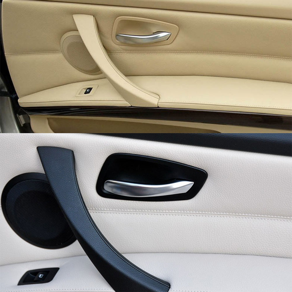 Beige Left Inner Door Panel Handle Pull Trim Cover For BMW E90 3-Series Sedan