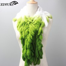 ZDFURS *new style special Genuine Rex Rabbit Fur Scarf  Tassel scarf colorful scarf Casual Rex Rabbit  Winter Neckerchief