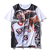 3D Print basketball stars Brook Lopez / Allen Iverson / Stephen Curry funny t shirt short sleeve summer graphic tops tee shirts