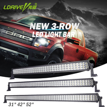 LDRIVE 31'' 42'' 52'' 3-row LED Light Bar Combo Beam Offroad LED Work Light Bar For Car Excavator SUV ATV 4x4 4WD Trailer 10-30V(China)
