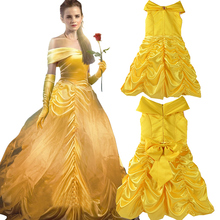 New 2017 Kids Girl Beauty and beast cosplay carnival costume kids belle princess dress for Christmas Halloween Dress For Girls