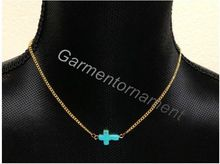 15pcs 1.6cm tiny turquoise cross sideways short choker chain necklace fashion jewelry for men or women