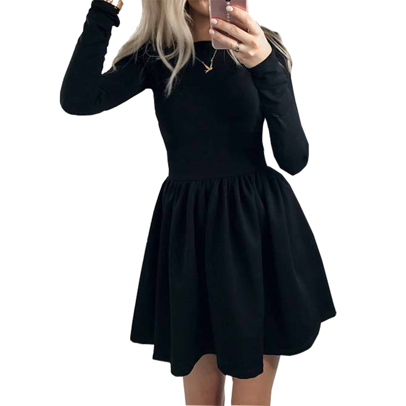 2018 Spring Autumn Women Dresses Long Sleeve Pleated Sexy Casual Party Dress Solid Kawaii A-Line Dress Femme Robe GV419