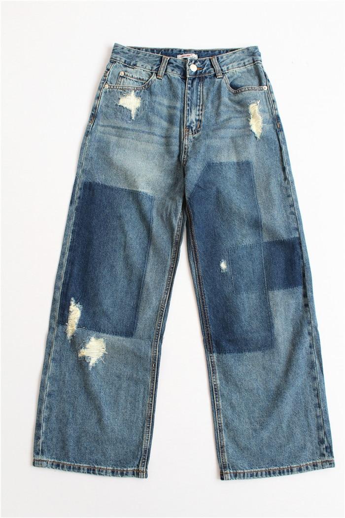 women high waist loose  girl  Hole patchwork vintage denim wide leg pantsÎäåæäà è àêñåññóàðû<br><br><br>Aliexpress