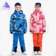 VECTOR Boys Girls Ski Suits Warm Waterproof Children Skiing Snowboarding Jackets + Pants Winter Kids Child Ski Clothing Set(China)