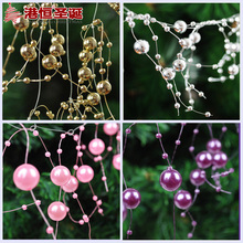 Christmas Tree Hanging Ornaments 1.2m Length Fishing Line Pearls Beads Chain Xmas New Year Garland Party Wedding Ornament
