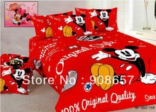 twin full queen king duvet covers cartoon bedding set red mickey mouse printed comforter children's girls bed linens 3pc or 4pc