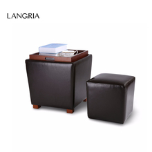 LANGRIA 2-Piece Nesting Faux Leather Ottoman Set with Legs and Flip-Over Tray Top for Storage Coffee Table Foot Rest Stool Seat