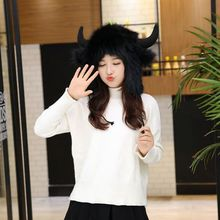 Woman Winter Hat Cap Beanie Warm Faux Fur Hats For Women Cotton Lace Up Knitted Cap Horn Antlers Goat(China)