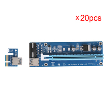 20pcs PCI-E 1X to 16X Extender Riser Card w/ 60CM USB 3.0 Data Power Cable with SATA 15pin to 4Pin Powered for BTC Mining Miner
