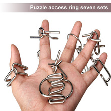 7 Sets Metal Ring Puzzle Magic Unlink Game Toy Kids IQ Brain Teaser Toy Children Learning Educational Toy Gift Magic Trick Hot(China)