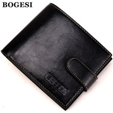 BOGESI Brand Mens Wallets Famous New PU Leather Wallet Hasp Design Wallets With Coin Pocket Purse Card Holder For Men Carteira