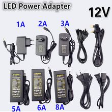 NEW DC LED Power Supply Charger Transformer Adapter 1A-12.5A 110V 220V to 12V For LED Strip 5050 3528 EU US AU UK Cord Plug Sock