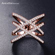 Hot!Bottom Price Only 2 Weeks Fashion Rings for Women Double Letter X Shape Ring Zirconia Micro Paved Women Anel(China)