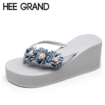 HEE GRAND Beach Flowers Flip Flops 2017 New Wedges Sandals Casual Platform Shoes Woman Slip On Creepers Flats Slippers XWT570
