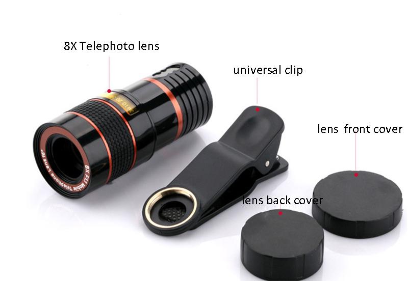 High-Definition Universal 8x telephoto telescopic camera lens For iPhone 6 6s Plus 5S SE 7 7Plus/Samsung Galaxy S6 S7 Edge Plus 8