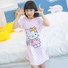 New Listing 2017 Children Clothing Summer Dress Girls Baby Pajamas Cotton Carton Lovely Nightgown Kids Home wear Girl Sleepwear