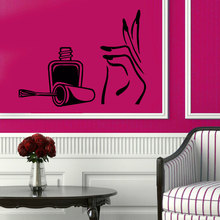 Girl Beauty Salon Wall Decal Vinyl Manicure Hand Spa Wall Stickers Nails Design Polish Interior Removable Modern Home DIY SYY739(China)