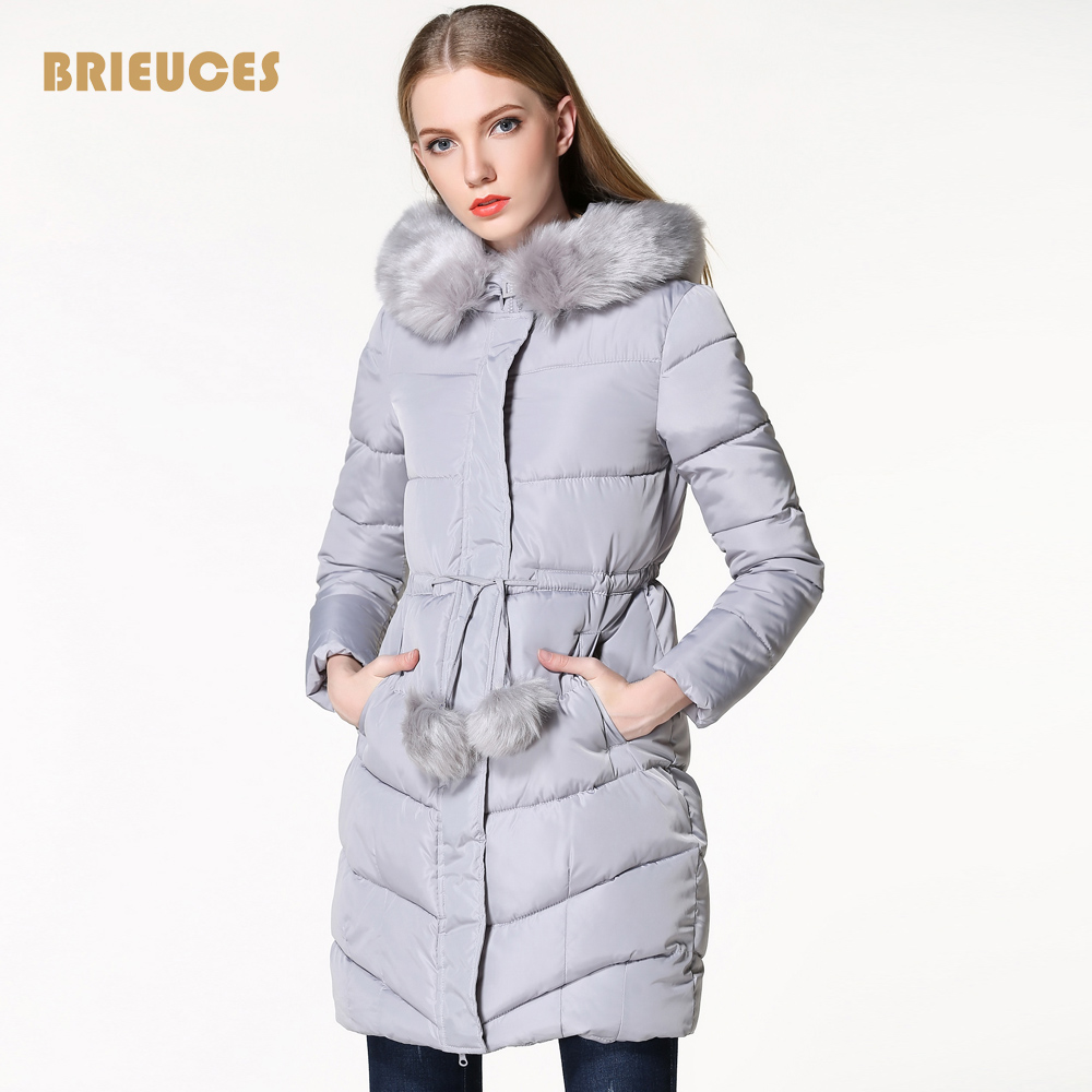 Brieuces winter jacket women fur collar plus size Adjustable fur ball design winter coat women jackt cotton down female parkasÎäåæäà è àêñåññóàðû<br><br>