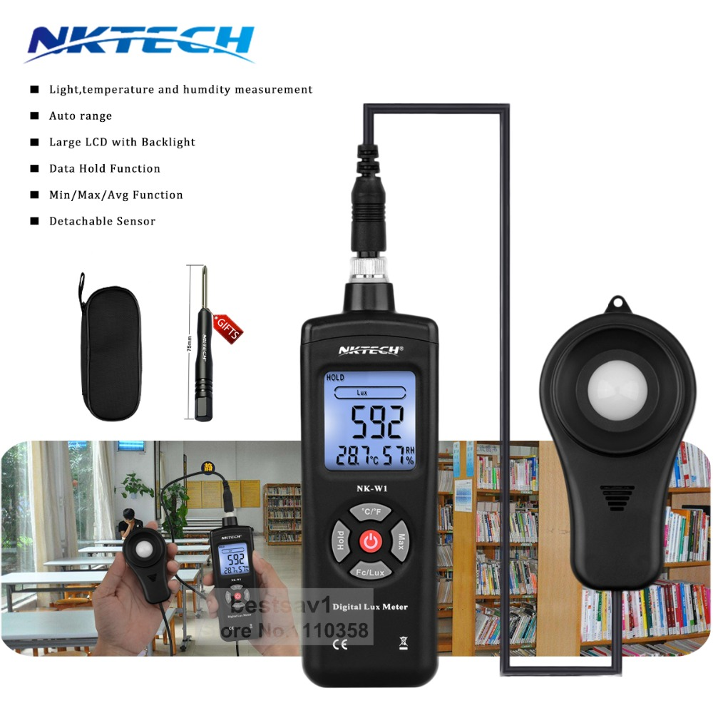 NKTECH 3-in-1 NKW1 Auto Range Digital 200000 Luxmeter Lux/FC Light Humidity Temperature Meter Tester With Backlight vs MS6612<br>
