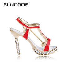Blucome High Heels Shoes Brooch Crystal Red Enamel Sandals Brooches Corsage Clips For Suit Scarf Dress Women Girls Jewelry Pins(China)