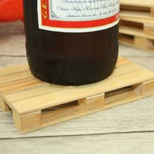 Set of 4 Miniature Pallet Wood Beverage Coasters Drink Wine Glasses Beer Bottle Whiskey Glass Cup Mat Hot Cold Drinks Table Mat