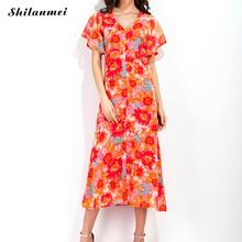 Summer Chiffon One-piece Dress For Women 2017 backless flower floral printed reddish orange V neck Short Sleeve Party Dress(China)