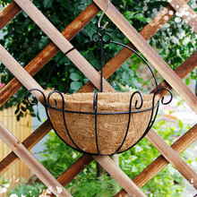 Pastoral style iron hanging half creative coconut half round hanging basket, the flower pot can plant scindapsus