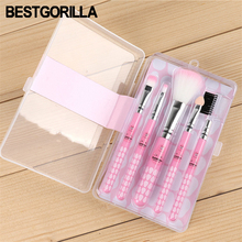 5pcs/set cosmetic brush Gradient Color Pink Powder foundation Makeup Brushes hello kitty Make up Brush Set with retail Box(China)